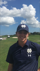 Notre Dame golfer Palmer Jackson won the individual championship and clinched the team title on his final shot at the Quail Valley Collegiate Championship on Monday, Oct. 21, 2019.
