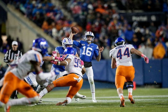 Baylor Romney, a Franklin alum, led BYU to a victory over No. 14 Boise State Saturday night in his first start since 2014