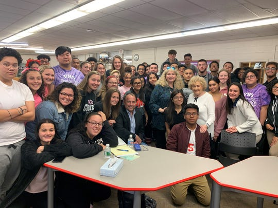 History was brought to life at Vineland High School on Oct. 18 as Laura Oberlender of Atlantic City shared the story of her survival of the Holocaust during a conversation with teacher Terry Kuhnreich.