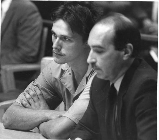 Chris Jacobs, left, and his defense attorney Weldon Nelson in court in 1988.