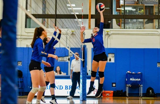 Blind Brook's Julia Rogovic attempts to hit the ball over the net in a game against North Salem.