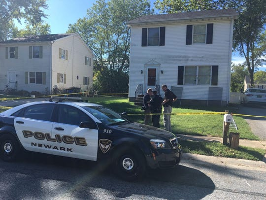 Police responding to the stabbing of a woman at a residence on Casho Mill Road on Saturday, Sept. 23, 2017 in Newark.