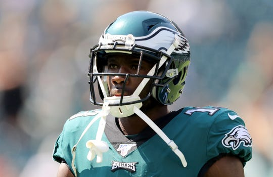 Nelson Agholor (13) of the Philadelphia Eagles warms up before the game against the Detroit Lions at Lincoln Financial Field on Sunday, Sept. 22, 2019 in Philadelphia.