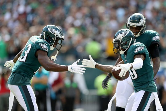 DeSean Jackson (10) of the Philadelphia Eagles (R) celebrates with Nelson Agholor (13) after catching a third quarter touchdown against Washington at Lincoln Financial Field on Sunday, Sept. 8, 2019. (