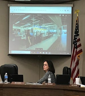 WFISD Board President Elizabeth Yeager listens to Superintendent Michael Kuhrt's presentation on innovative designs for school facilities during a school board meeting as shown in this Oct. 21, 2019, file photo.