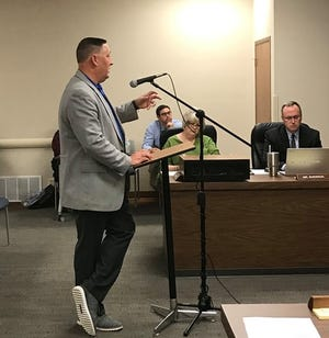 Wichita Falls ISD Superintendent Michael Kuhrt, standing, gives a presentation on innovative designs for school facilities during a school board meeting Monday, Oct. 21, 2019.