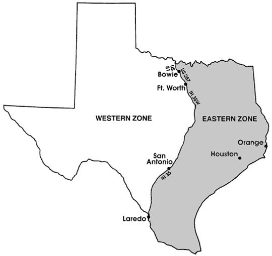 Geese hunting zones in Texas.