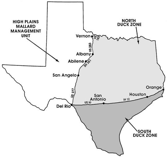 TPWD duck hunting zones. Wichita Falls is in the North Duck Zone.