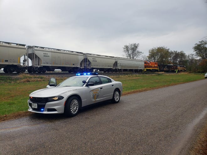 Basin Road was the site of a vehicle that was struck by a train early Tuesday morning.