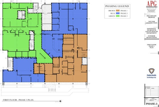 The first floor after phase 3 of health department renovations is shown above. Areas marked in orange are part of the first phase, areas marked in blue are part of the second phase and areas marked in green are part of the third phase. The project is projected to be completed near March 2021 and will cost over $3 million.