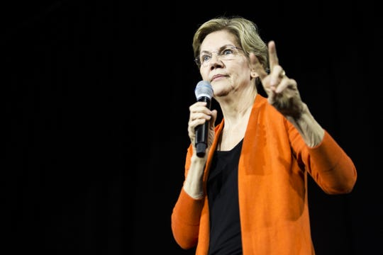 Sen. Elizabeth Warren speaks during a town hall event on October 18, 2019, in Norfolk, Virginia.