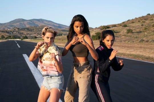 "Sabina (Kristen Stewart, left), Jane (Ella Balinska) and Elena (Naomi Scott) are the spy trio at the heart of Elizabeth Banks' ""Charlie's Angels."""