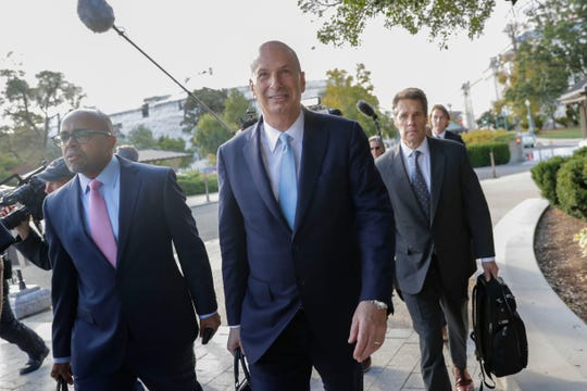 U.S. Ambassador to the European Union Gordon Sondland, center, arrives on Capitol Hill  on Oct. 17, 2019.