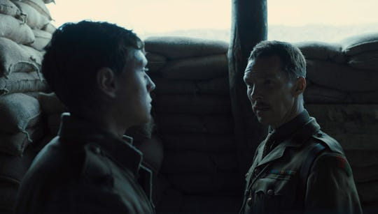 """Schofield (George MacKay, left) gets orders from Colonel Mackenzie (Benedict Cumberbatch) in the World War I epic """"1917."""""""