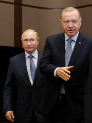 Russian President Vladimir Putin, left, and Turkish President Recep Tayyip Erdogan, right, during their meeting in the Black Sea resort of Sochi, Russia, on October 22, 2019. The Turkish president is on a working visit to Russia.