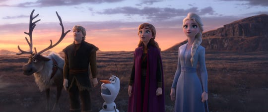 """A new mystery takes Sven (from left), Kristoff (Jonathan Groff), Olaf (Josh Gad), Anna (Kristen Bell) and Elsa (Idina Menzel) beyond the gates of Arendelle in """"Frozen 2."""""""
