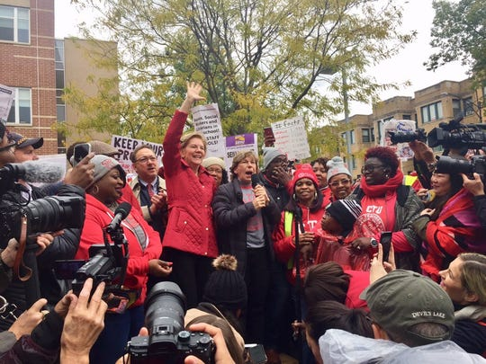 Presidential candidate Elizabeth Warren joins AFT President Randi Weingarten at Oscar Depriest Elementary School to support CPS teachers and staff on strike in Chicago on Oct. 22, 2019.