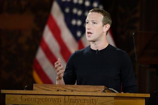 Facebook CEO Mark Zuckerberg at Georgetown University in Washington on Oct. 17, 2019.