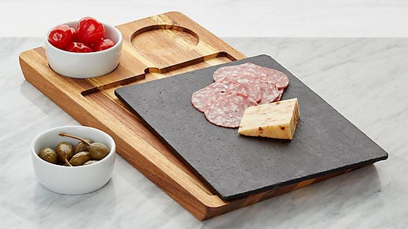 Best Hanukkah gifts of 2019: Crate & Barrel Slate and Wood Serving Board with Bowls