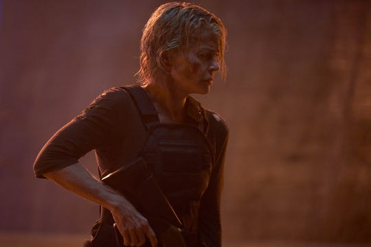 """Sarah Connor (Linda Hamilton) is back in action and taking the fight to dangerous robots in """"Terminator: Dark Fate."""""""