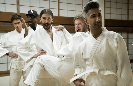 Antoni Porowski, Karamo Brown, Jonathan Van Ness, Bobby Berk and Tan France find heroes to help in Japan.