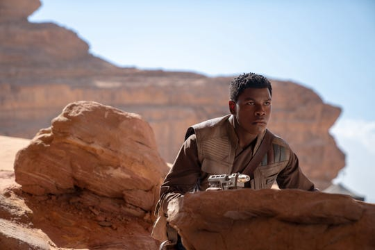 "John Boyega reprises his role as Stormtrooper-turned-hero Finn for the third time in the trilogy closer ""Star Wars: The Rise of Skywalker."""