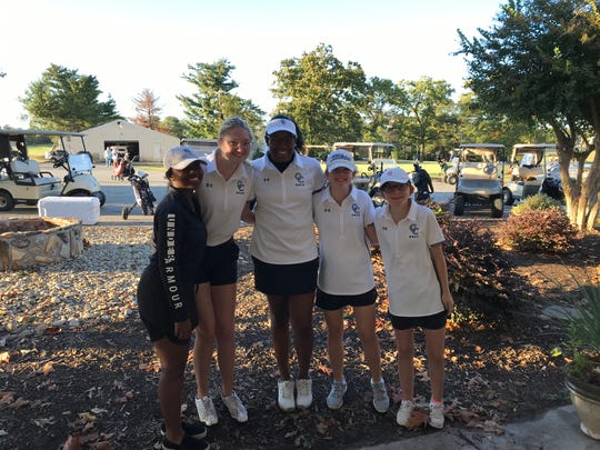 Pendleton girls golf qualified for the Class AAA state championship on Tuesday, October 26. (Left to Right): Kamryn Williams, Catherine Shoffner, Yasmene Clark, Isabelle Roy, Carly Fanning.
