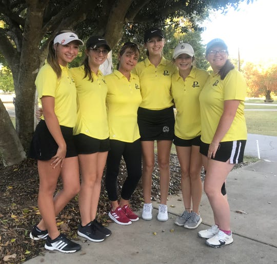 Pendleton girls golf qualified for the Class AAA state championship on Tuesday, October 26. (Left to Right): Kendal Graham, Kaitlyn Hagler, Chrissie Spidell, Emma Stone, Ella Traynum, Torie Yeomans.