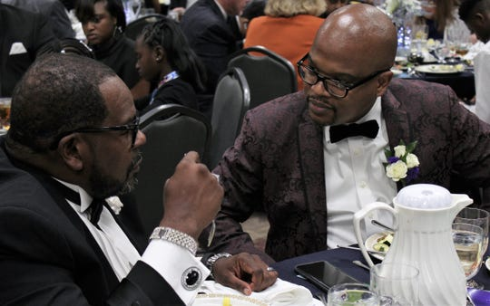 Ian Nickerson, the pulpit minister at Minda Street Church of Christ, speaks with revival speaker Wesley T. Leonard of Orlando, Florida, at Saturday evening's 40th anniversary banquet at McMurry University. Nickerson succeeded Tony Roach in 2016 as church leader. Oct. 19 2019
