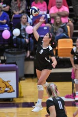 Wylie's Keetyn Davis (9) goes up for one of her eight kills against Wichita Falls High at Bulldog Gym on Tuesday, Oct. 22, 2019. The Lady Bulldogs won 25-6, 25-12, 25-15.