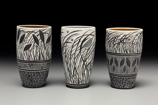 Becky Lloyd's work is known for her use of sgraffito, or decoration by cutting away parts of a surface layer to expose a different colored ground.