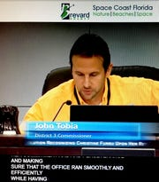 A screen shot showing closed captioning during a broadcast of a County Commission meeting, with County Commissioner John Tobia in the image. Brevard County now is offering this feature, and taking other steps to be in compliance with the Americans with Disabilities Act.