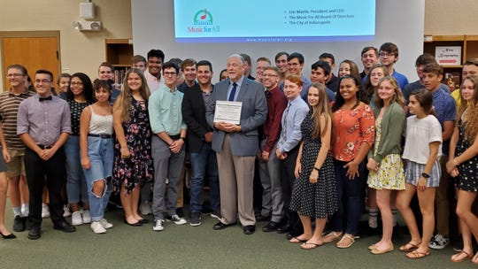 The Viera High woodwind ensemble met with Music For All's Stan Schoonover Tuesday night, where he formally invited them to attend the foundation's National Festival in March.