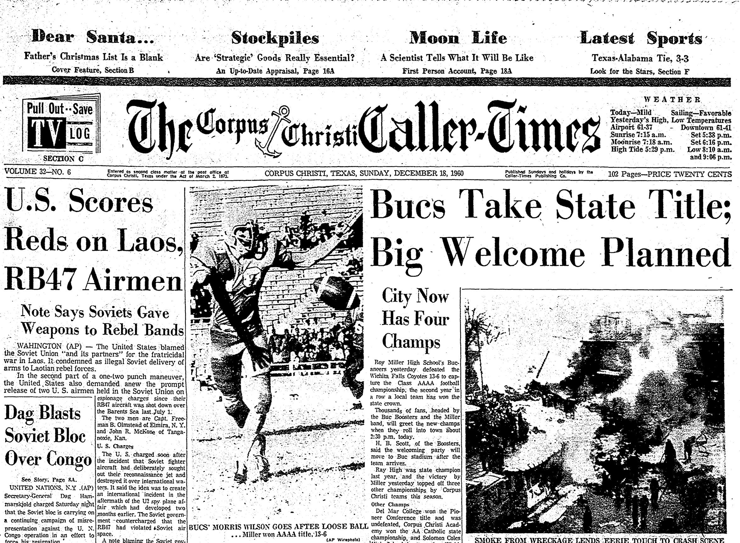 The cover of the Corpus Christi Caller-Times on Dec. 17, 1960 after Miller High School won the state football championship.