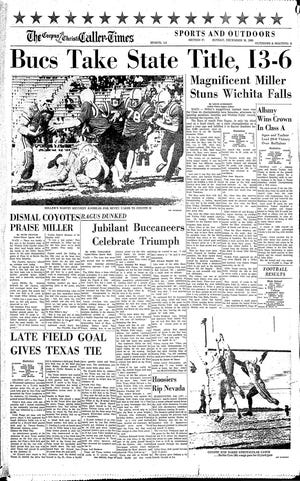 The cover of the sports section in the Corpus Christi Caller-Times on Dec. 18, 1960 after the Miller High School Buccaneers won the state football championship.