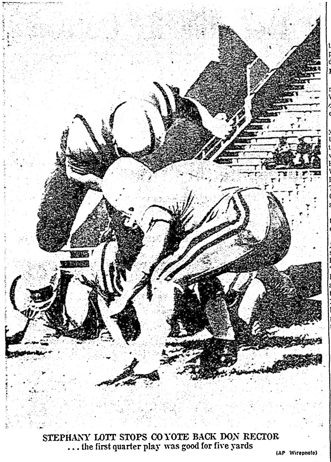 A photo from the Dec. 18, 1960 Caller-Times after the Miller High School Buccaneers won the state football championship. Stephany Lott stops Coyote back Don Rector during the first quarter.
