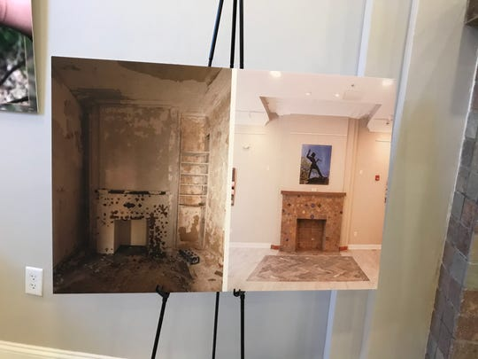 Photographs show the before-and-after of the restored fireplace in the Pierre Building's lobby.