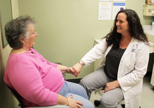 Breast cancer survivor Pearl Hall praises Dr. Christin Spahn, her surgeon at Adena Health System, for the expert and compassionate care she was given.