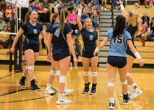 Adena High School girls volleyball defeated Nelsonville York 3-1 Tuesday night at Waverly High School in a Division III district semis game. They will go on to play Zane Trace on Saturday, October 26, 2019.