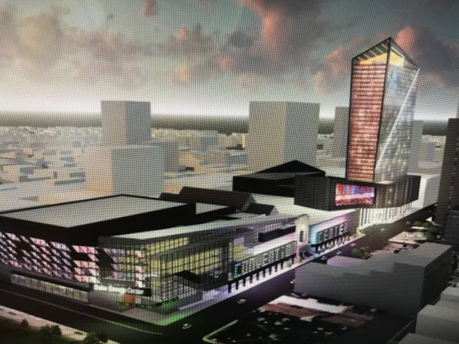 An artist's rendering of Vandercar Holdings' proposed redevelopment plans for the Millennium hotel site Downtown. The plan includes expanding the Duke Energy Convention Center across Elm Street, but development officials are studying whether such an expansion is even warranted.