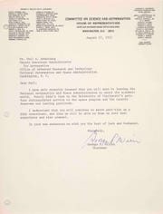 The sons of astronaut Neil Armstrong gave this Aug. 27, 1971, letter to the University of Cincinnati this year. The letter from the chairman of the House Committee on Science and Astronautics bids farewell to the astronaut as he departed NASA to teach at UC.