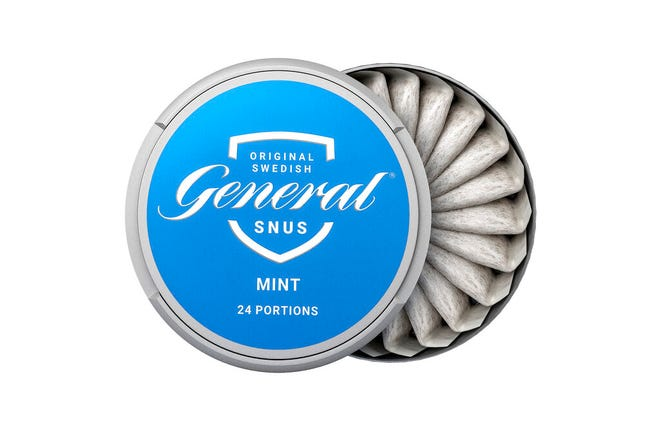 """This image provided by Swedish Match in 2019 shows the company's """"General Snus"""" pouched smokeless tobacco product. On Tuesday, Oct 22, 2019, the U.S. Food and Drug Administration endorsed the tobacco pouches as less harmful than cigarettes, a first-ever decision that could open the door to more lower-risk options for U.S. smokers."""