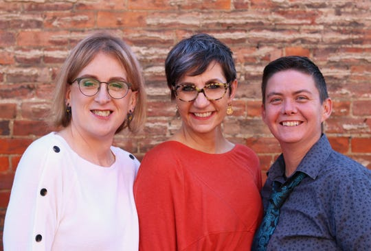 The founders of Transform, a new Cincinnati non-profit that will allow transgender youth to exchange their old wardrobe for a new one. From left to right, Marissa Fine, Nancy Dawson and Tristan Vaught.