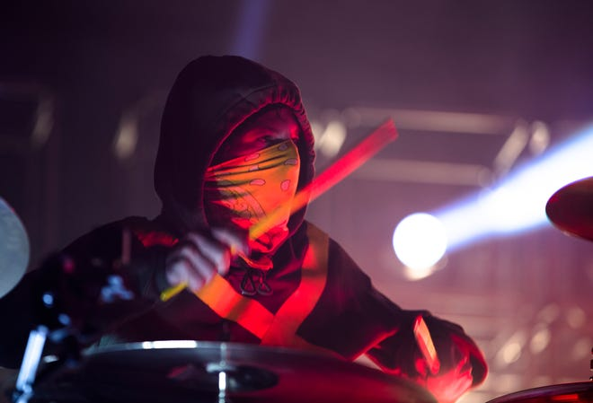 Josh Dun, Twenty One Pilots drummer, performs during the Twenty One Pilots Banditos Tour Tuesday, Oct. 22, 2019, at US Bank Arena in Cincinnati.