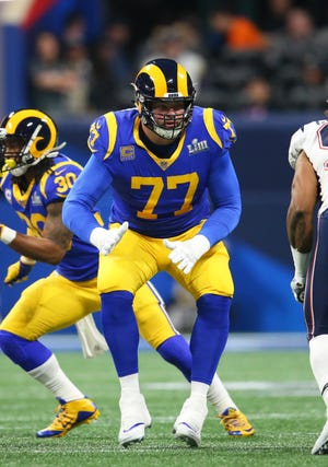 Feb 3, 2019; Atlanta, GA, USA; Los Angeles Rams offensive tackle Andrew Whitworth (77) during Super Bowl LIII against the New England Patriots at Mercedes-Benz Stadium.