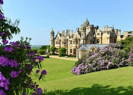 This is Harlaxton Manor, a house surrounded by lush gardens and green lawns so wide that the Royal Air Force landed bombers on the property during World War II.
