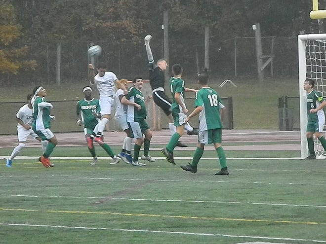 The No. 4 seed East Brunswick boys soccer team defeated No. 8 New Brunswick 2-0 in the GMC Tournament semifinals on Tuesday, Oct. 22, 2019 at East Brunswick.