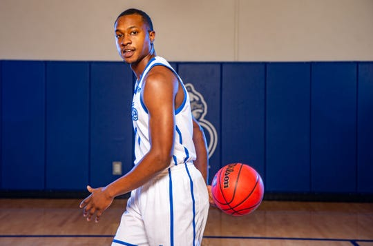 D.J. Wilkins stands for a photo at Drake Men's Basketball media day Wednesday, Oct. 23, 2019.