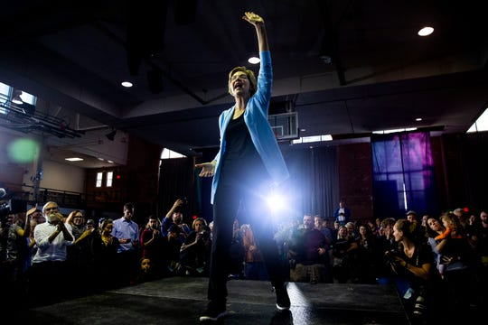 U.S. Sen. Elizabeth Warren, D-Mass., speaks to the crowd gathered for a town hall event on the University of Northern Iowa campus on Tuesday, Oct. 22, 2019, in Cedar Falls.