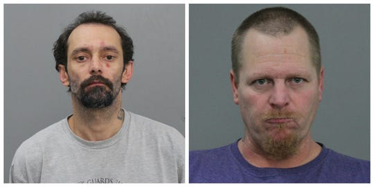 Joseph W. Brown, 38, left, and Robert Fite Jr., 44, shown in in their Marshall County Jail mugshots in October 2019.